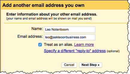 Add another email address dialog