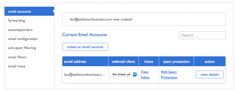 Email account created.