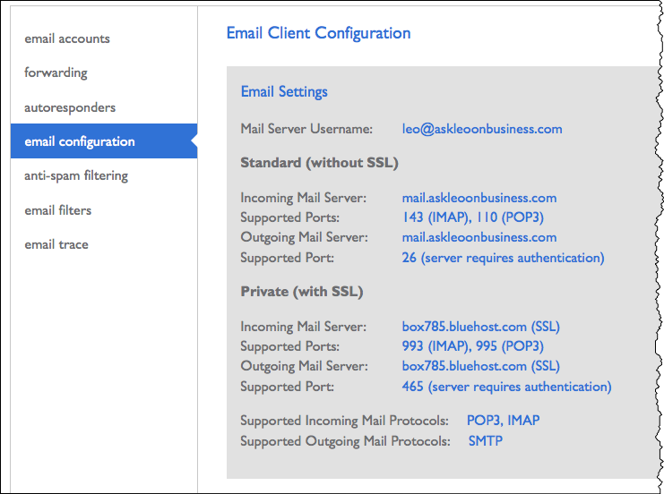 Bluehost email configuration