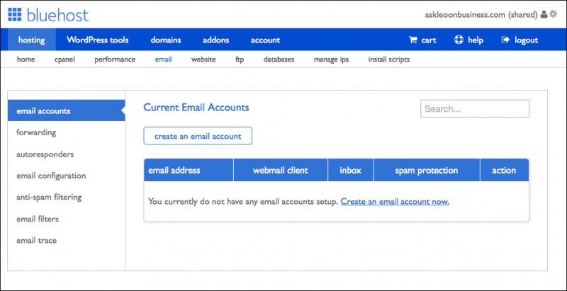 Bluehost email management interface