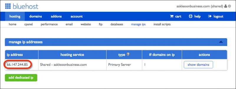 Bluehost manage IPs