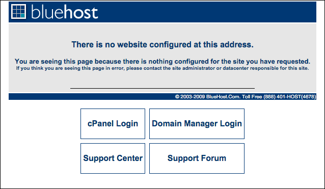 Bluehost parking page