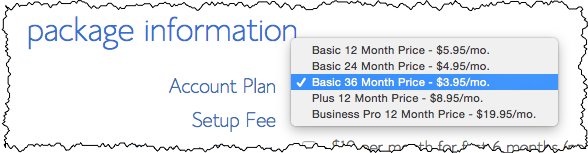 Bluehost plan selection