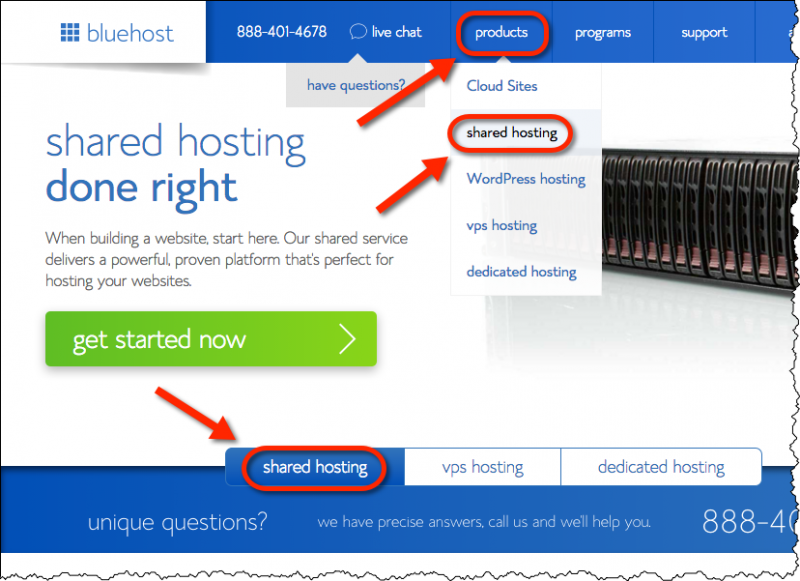 Bluehost Shared Hosting sales page