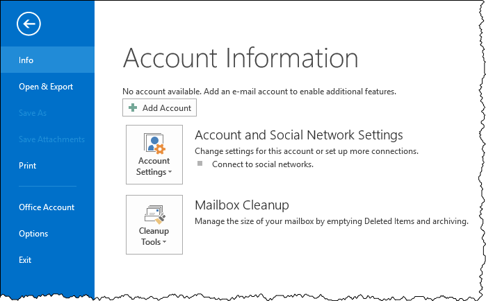 Outlook Account Information page
