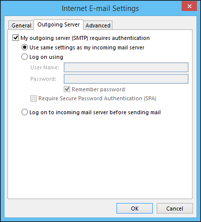 Outlook outgoing server configuration