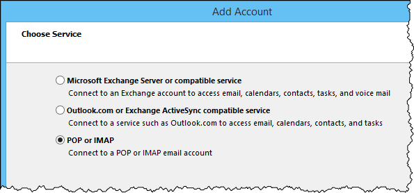 Outlook server type