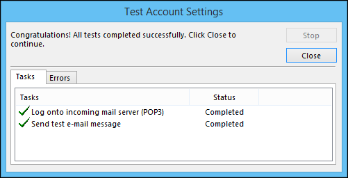 Outlook configuration test results