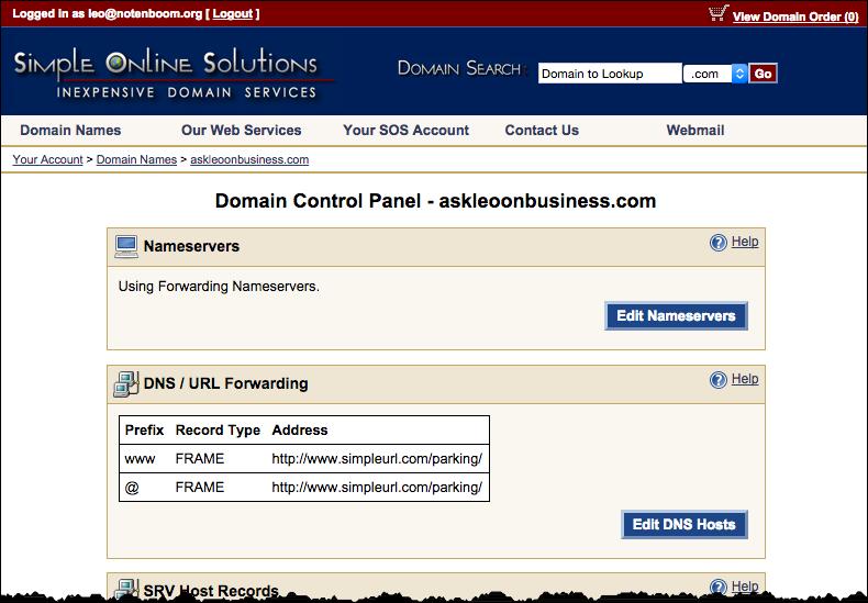 SimpleURL Domain Control Panel