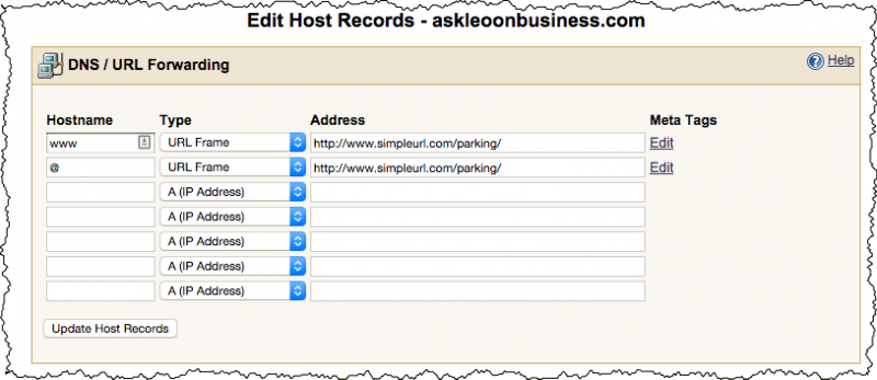 SimpleURL editing host records