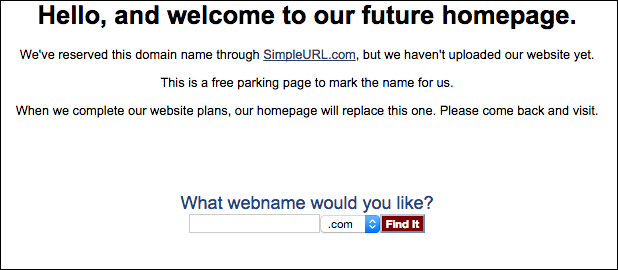 SimpleURL's parking page