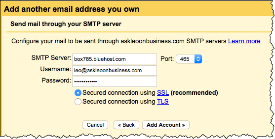 Gmail remote SMTP configuration