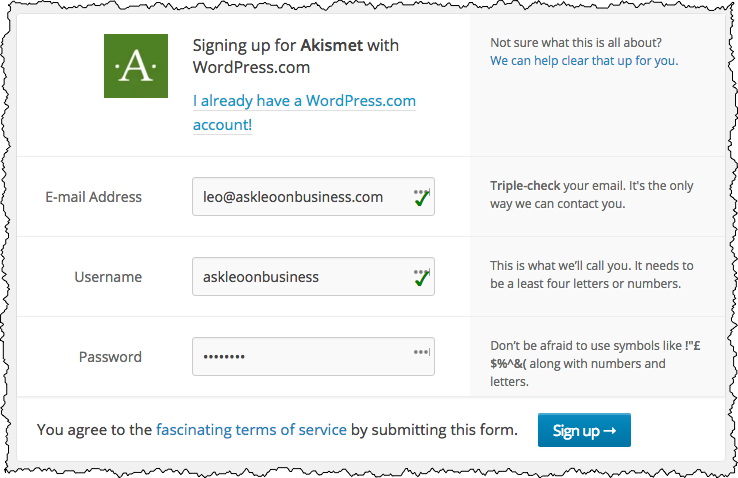Akismet Sign Up Page