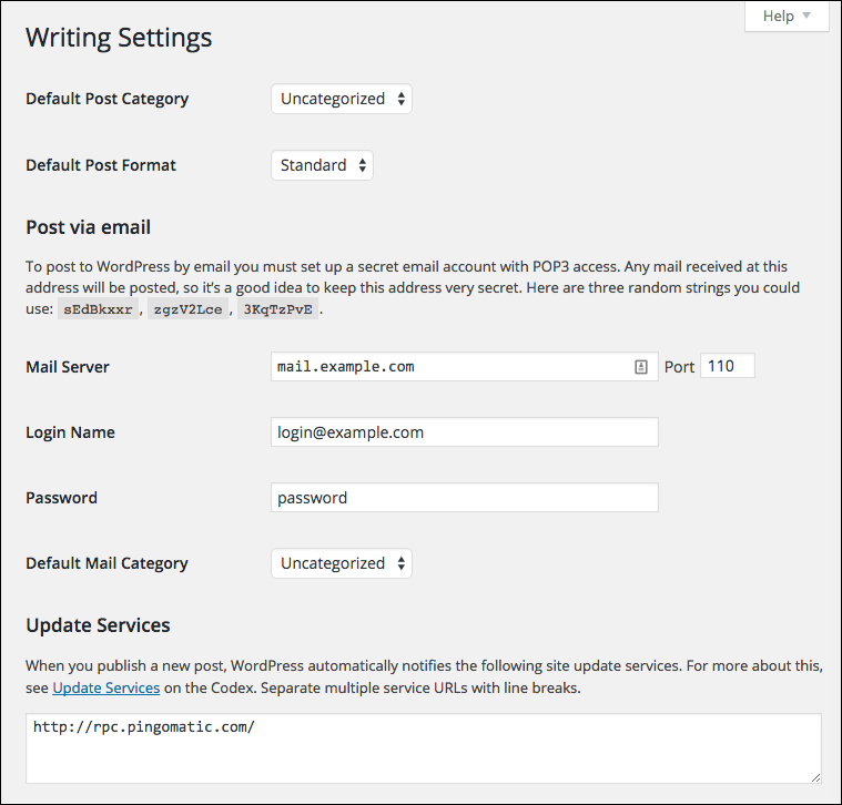 Settings - Writing