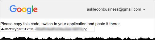 Analytics Authorization Code
