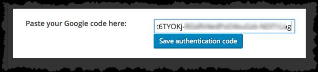 Analytics Authentication Code Entry