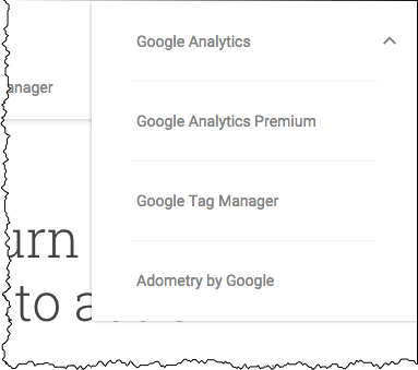 Google Analytics Sign In Menu