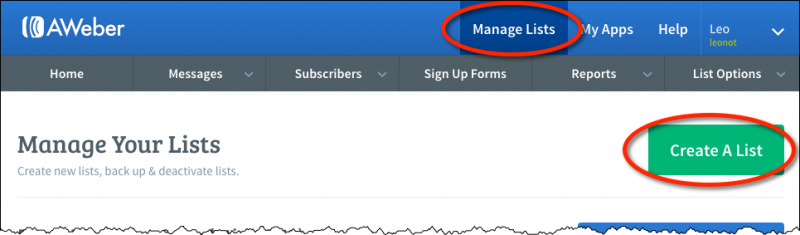 The Aweber Manage Your Lists page