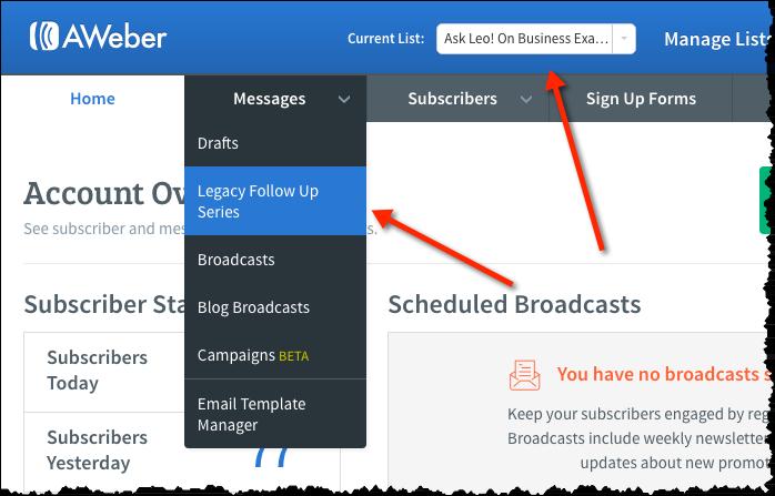 Aweber Messages menu