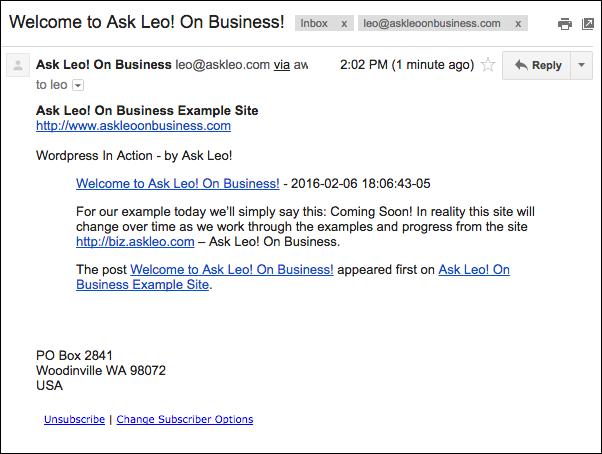 Test blog broadcast email