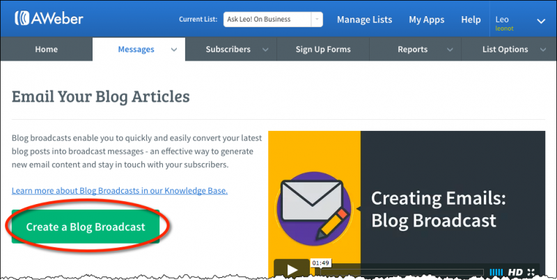Create a Blog Broadcast introductory page