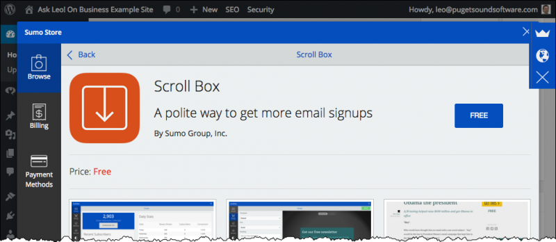 Scroll Box Install Page