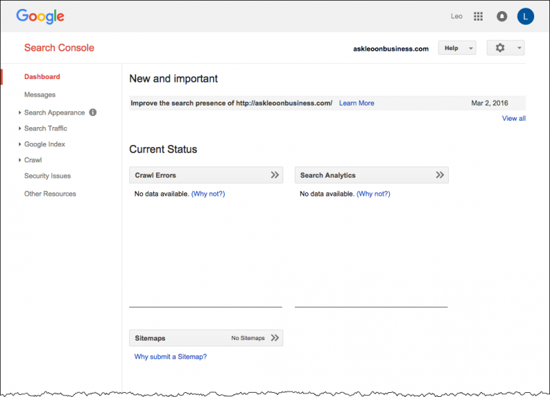 Search Console Initial Dashboard