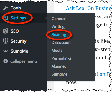 Settings, Reading link