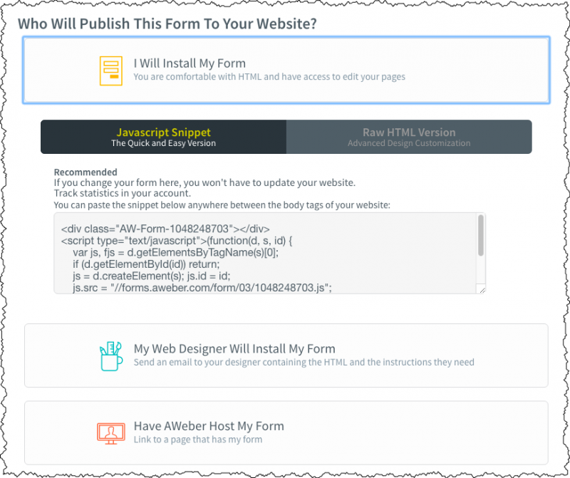 Sign Up Form Publish Options