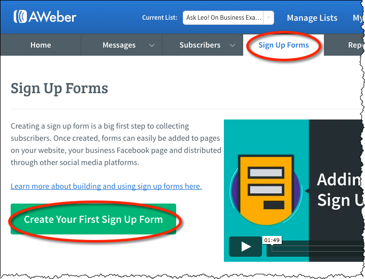 Creating Sign Up Forms