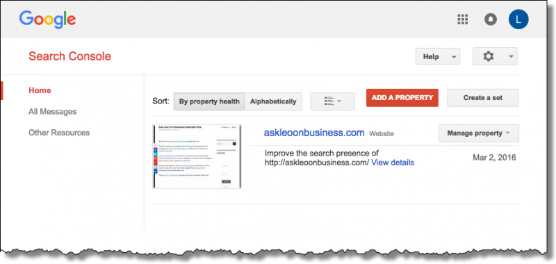 Ask Leo! On Business Example Site in Google Search Console