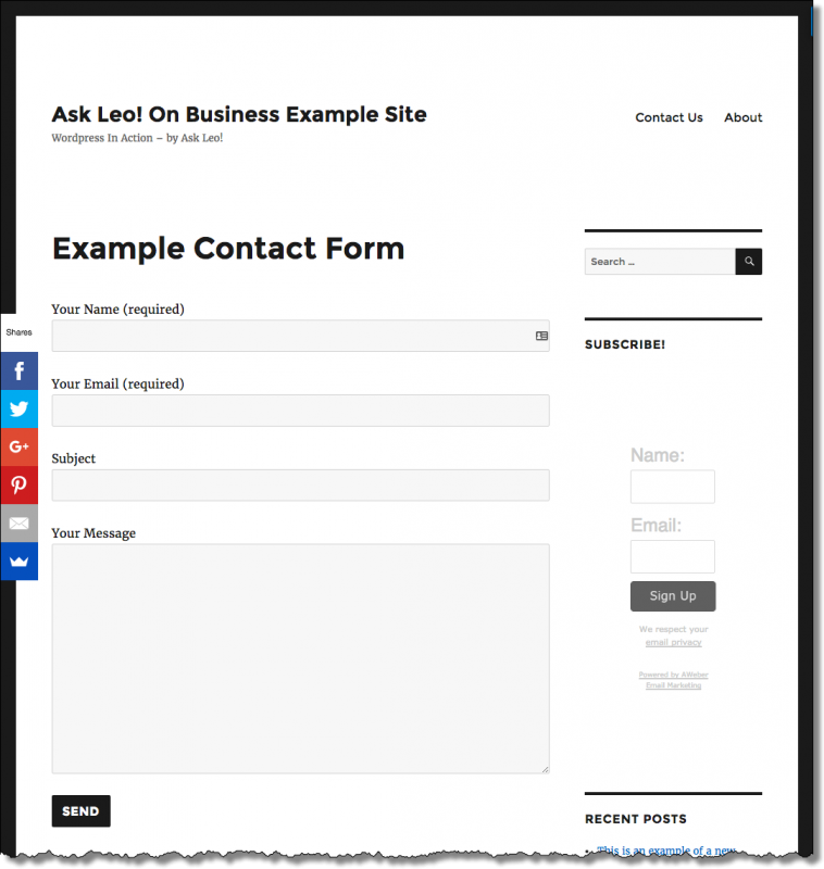 Our example contact form