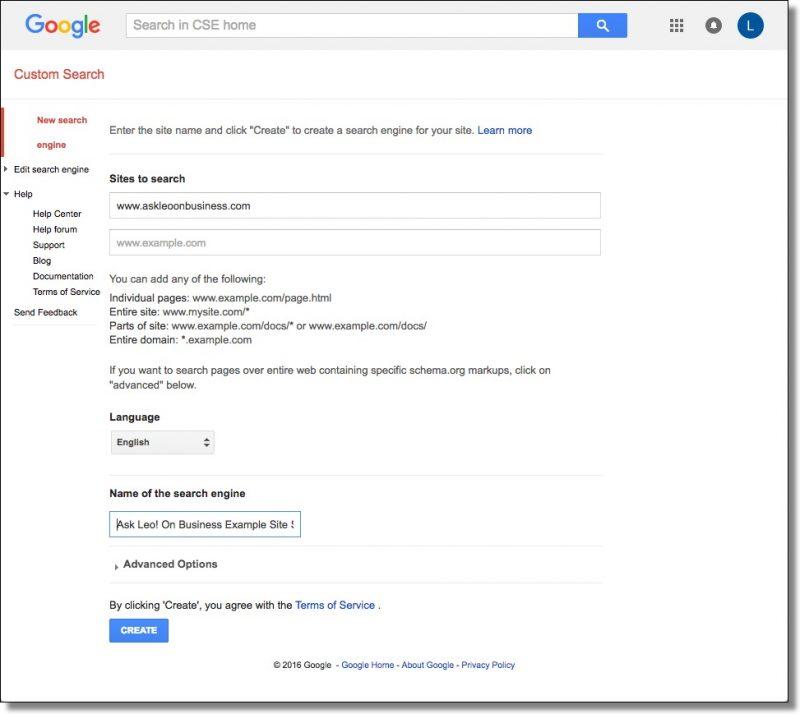 Creating a Custom Search Engine