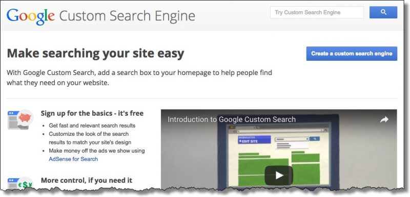 Google Custom Search Engine Home Page