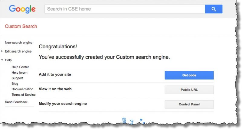 Custom Search Engine Created