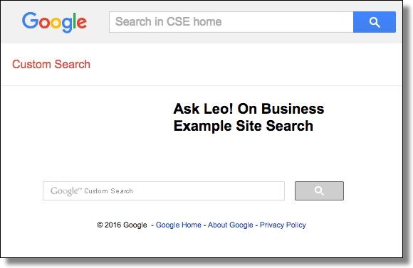 Custom Search Engine Dedicated Page