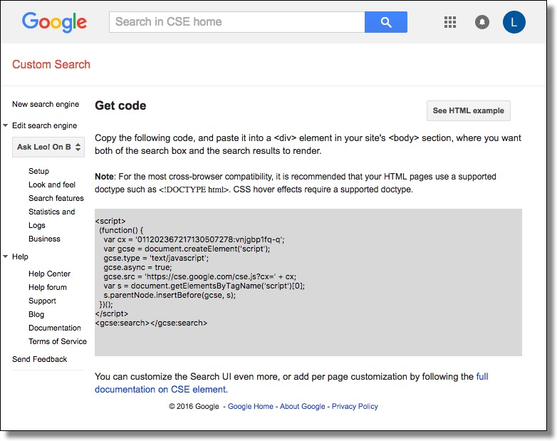 Custom Search Engine Get Code