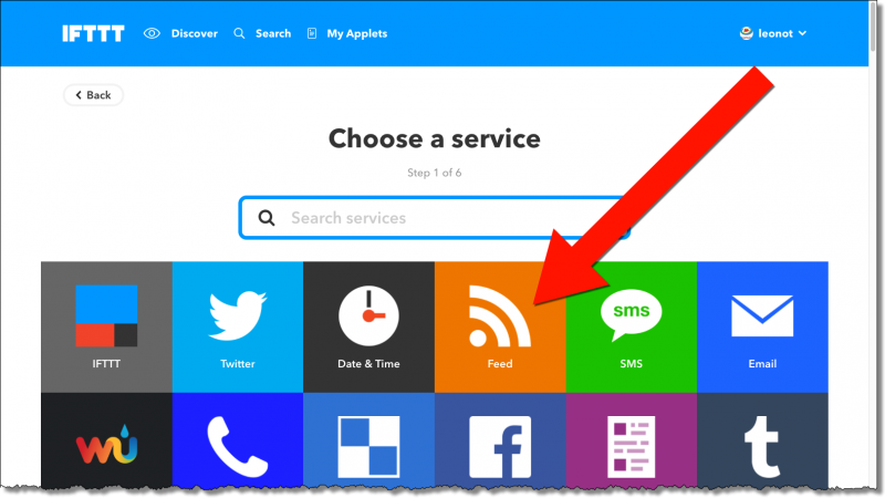 IFTTT: Choose A Service