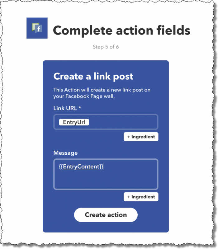 IFTTT: Complete Action Fields
