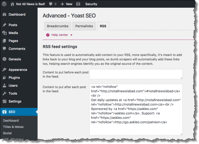 Yoast RSS Settings